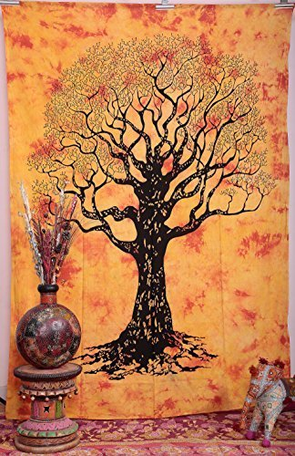 tree-of-life-tie-dye-orange-yellow-colour-throw-bedspread-twin-wall-hanging-tapestry