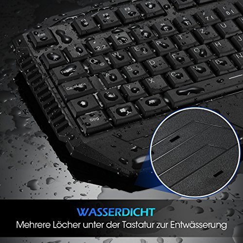 Gaming Tastatur, Pictek 26 Key Anti-Ghosting-Tastatur mit verstellbarer Rainbow LED-Hintergrundbeleuchtung, ergonomische Handballenauflage, wasserdichte Computer-Tastatur für Gamer-Typisten - 8