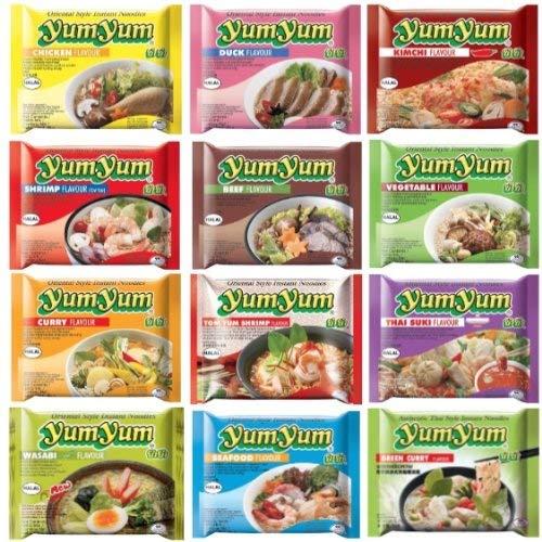 60 YumYum Nudelsuppen, 9 Sorten Yum Yum FREIE WAHL (60 Yum Yum verschiedene Sorten)