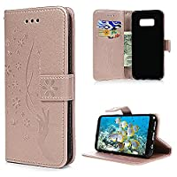 S8 Case, Galaxy S8 Wallet Case, YOKIRIN PU Leather Magnetic Folio Inner Soft TPU Embossed Butterfly Hand with Card Slots Kickstand Flip Wallet Cover for Samsung Galaxy S8, Gold
