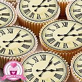 24 adornos para tartas de hadas para cupcakes, 4 cm, reloj antiguo, ND2