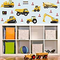 GET STICKING DÉCOR® CONSTRUCTION VEHICLES WALL STICKERS COLLECTION, StripedTruck Cons1, Glossy Vinyl, Multi Color. (Large)