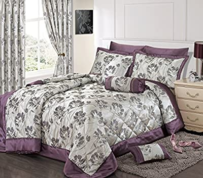 Home Bedding Store Premium King Size Luxury Jacquard Purple / Silver Floral Comforter / Bedspread Throwover