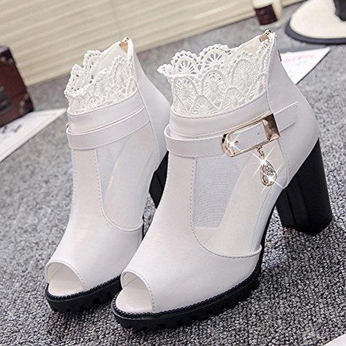 Transer ® Les femmes de la mode été Bohème haut talon dentelle Tongs sandales mocassins Blanc