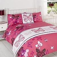Polilla Rosa Colcha Cama en una bolsa de cama (tamaño doble king size y Super King Size, poliéster, Pink White/Purple, matrimonio