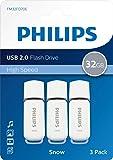 PHILIPS Snow Edition Grey 64 GB, Chiavetta USB 2.0, velocità di Lettura Fino a 35 MB/s, Bianco, 3-Pack