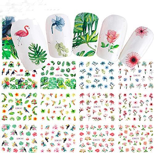 ValianhAgen Nagelsticker, Blumen- und Blattmotiv, für Nagelkunst multi