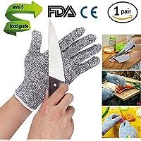 Resistente a los cortes guantes de trabajo, sheshy cocina guante protección de corte ajuste cómodo de calidad alimentaria 5nivel satety uso para cortar y cortar, blanco
