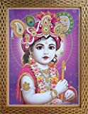 Shree Handicraft BAL KRISHNA Krishna Bal Roop Framed Painting Photo Frame (34.5 cm x 44.5 cm x 1 cm, Acrylic sheet used)