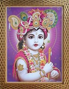 Shree Handicraft BAL KRISHNA Krishna Bal Roop Framed Painting Photo Frame (34.5 cm x 44.5 cm x 1 cm, Acrylic sheet used)