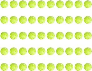 Awakingdemi Golf Balls,Plastic Baseball, 50Pcs Golf Practice Balls Plastic Airflow Hollow Sports Balls Golf Accessories Green