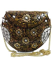 Handmade Stone Metal Bags Mosaic Clutches Wallet Metal Purse Metal Box Purses