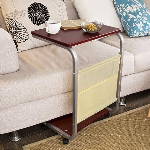 SoBuy® Mesa auxiliar con ruedas, Mesa de Centro, Fin de mesa, rodando mesa cama para PC o comidas, FBT21-BR, ES
