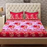 Bombay Dyeing Double Bedsheet with 2 Pillow Cover - Red