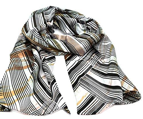 Striessnig Wien – Damen Schaltuch braun orange Schal mit Streifen Muster, modisch aktuelles Halstuch, ca. 36 x 160 cm (Diagonal-streifen-schal)