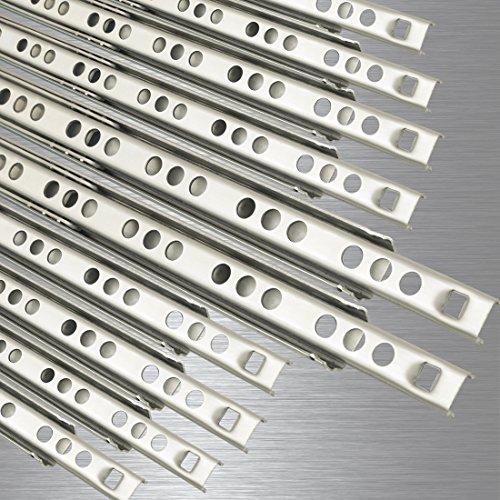 10 Schubladenschienen EDELSTAHL Teilauszug Rollenauszug Teleskopschiene Kugelführung Schubladenauszug H: 17 / L: 374 mm
