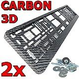 L&P A0195 2 x Kennzeichenhalter Carbon 3D Optik NEUHEIT Kennzeichenhalterung KFZ Halter inkl. Schrauben