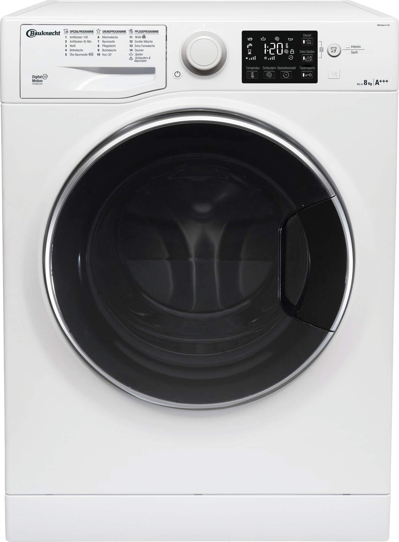 Bauknecht WM Steam 8 100 Waschmaschine Frontlader, 8 kg, Dampf-Option, weiß