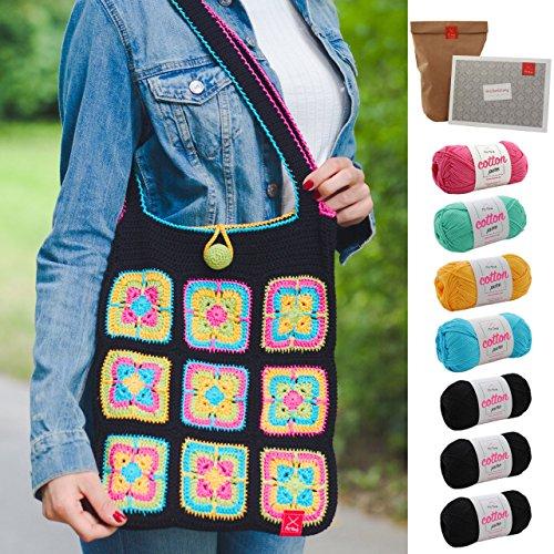 MyOma Häkelset Tasche bunt -Tasche häkeln Set- Häkelpackung Granny Squares Tasche DIY Set häkeln mit Baumwolle Cotton Pure, leicht verständlicher Häkelanleitung INKL. Häkelnadel GRATIS Label -