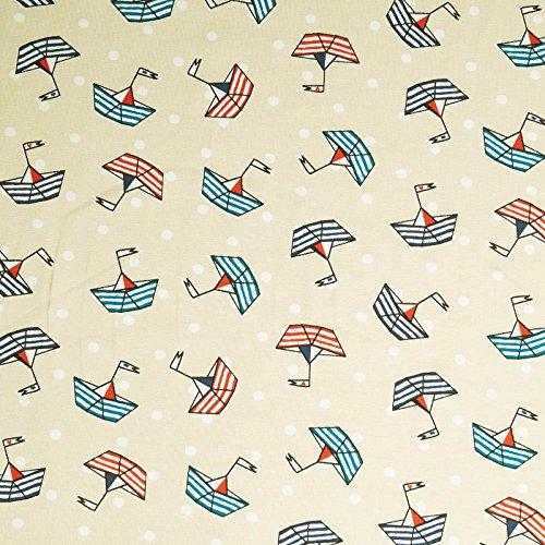 Sailor Jersey Stoff - maritimer Print - Boote & Punkte - Kinderstoff, elastischer Jersey (per Meter) -