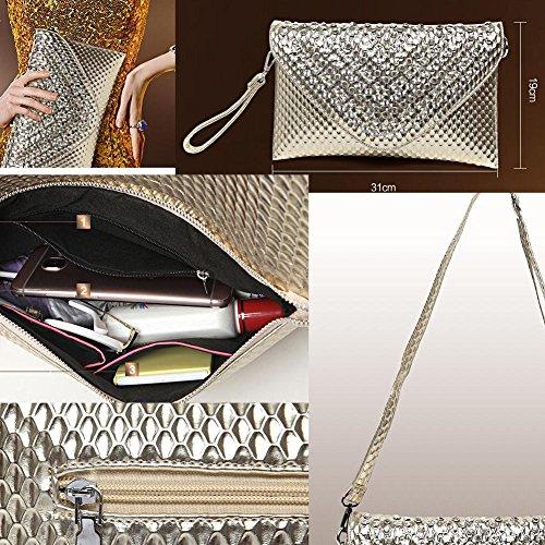 Frauen-Handtasche-Schulter-Abend-Handtaschen-Einkaufstasche Silber 2
