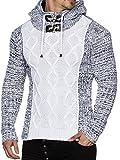 Tazzio 16486 Pullover a maglia grossa, da uomo, con cappuccio, mélange bianco M