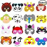 Keriber 16 stücke Tiermasken Dschungeltiere Kindermasken Gesichtsmasken Halloween Partymasken für Kinder aus EVA