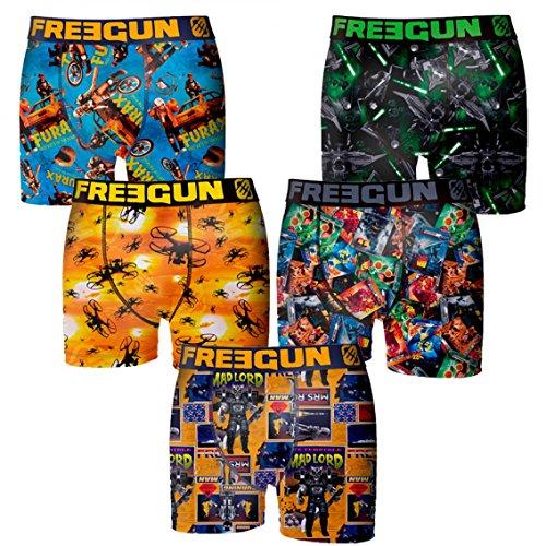 Freegun lot de 5 boxers garçon taille 10/12 - Multicolore - Taille 10/12 ans