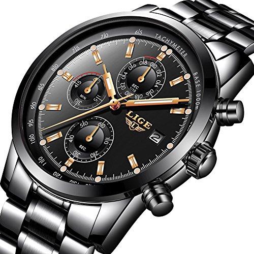 Herren Uhren Luxusmarke Schwarz Edelstahl Wasserdicht Quarz Analog Uhr Herren Fashion Sport Uhr Herren Classic Business Datum Armbanduhr