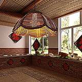 iluminación de la lámpara de mimbre chino retro restaurante restaurante pasillo escaleras pantalla de lámpara de bambú minimalista lámpara de araña hecha a mano (de eficiencia energética A +)