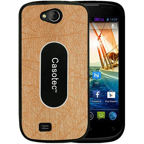 Casotec Metal Back TPU Back Case Cover for Micromax Canvas Elanza A93 - Gold  available at amazon for Rs.229