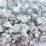 Sparkles Gems UK Small Satin Ribbon Roses Buds Embellishments x 20 - All Lurex Silver