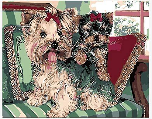 WOWDECOR DIY Malen nach Zahlen Kits Geschenk für Erwachsene Kinder, Malen nach Zahlen Home Haus Dekor - Schnauzer Hund & Welpe 16 x 20 Zoll (X7052, Ohne Rahmen)