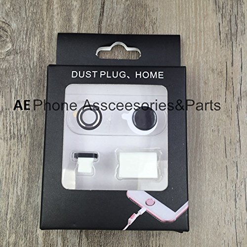 AE (TM) [IPHONE 7] 4 In 1 Rear Camera Lens Protective + Home Key Protective + Dust Plug + headphone support for Iphone 7 Dust Plug BLACK