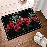 gohebe rot Rose in schwarz Bad Teppich Rutschfest Boden Eingänge Outdoor Innen vorne Fußmatte, 39,9x 59,9cm Badvorleger Badematte Bad Teppiche