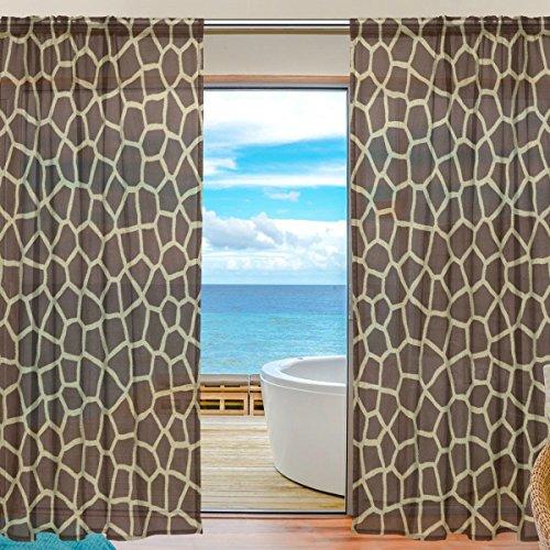yibaihe Fenster Vorhänge, Gardinen Platten Fenster Behandlung Set Voile Drapes Tüll Vorhänge Animal Print Giraffe Textur 140W x 213 L cm 2Einsätze für Wohnzimmer Schlafzimmer Girl 's Room