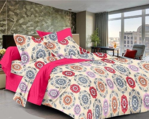 rivaz DOUBLE BEDSHEET with pillow covers (COTTON) King 200 TC - Feelings...