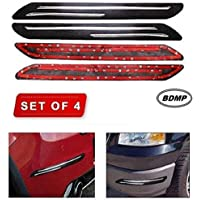 BDMP Bumper Protector Car Rubber Guard with Double Chrome Strip Car 4Pcs(Black) Compatible All Cars