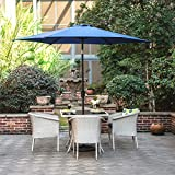 Gartenschirm mit Dreh-Kipp-Mechanismus Kurbelschirm Sonnenschutz UV-Schutz Sonnenschirm Ø 270CM, rund, Blau