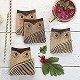 Store Inbdya - Set artigianale di 4 sottobicchieri in legno con design gufo titolare - marrone naturale (4 pollici)