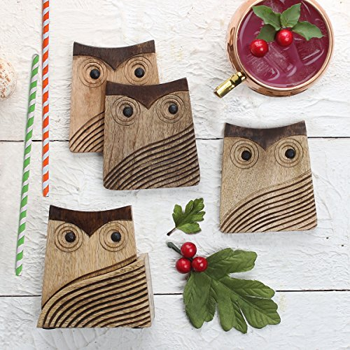 Store Indya, Owl Set of 4 Wooden Coasters with Holder For Tea...