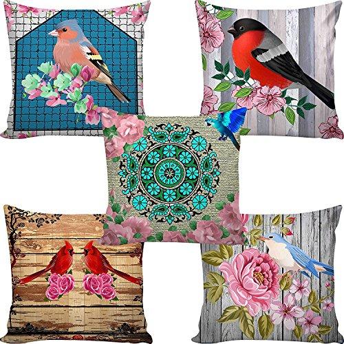 B7 Creations Digital Printed Jute Cushion Cover Set Of 5 16X16 Inches...