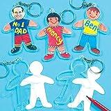 """Blanko-Schlüsselanhänger """"Figuren"""" aus Plastik - Einlegeblatt für Kinder zum Bemalen - Geschenk zum Muttertag - Vatertag - 6 Stück"""