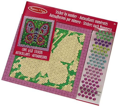 Melissa & Doug 14293 Butterfly Peel and Press Mosaics Sticker by Number Kit with 650+ Stickers, Assorted Colours