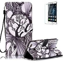 Funyye - Funda de piel de diseño elegante, modelo con flor de loto de colores, soporte a modo de libro, tipo cartera, con película protectora para iPhone 5/5S y iPhone SE Color-19 Huawei P9 Lite