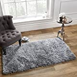 Sienna Large 120 x 170 cm Shaggy Floor Rug Plain Soft 5cm Thick Area Mat Non-Shed Pile - Silver Grey