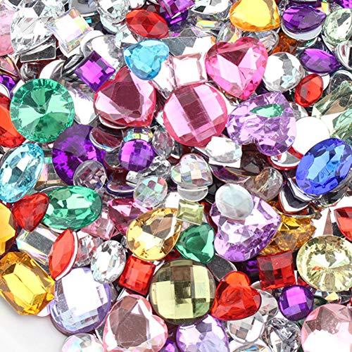 Abalorios de diamantes de imitación, adornos de piedras preciosas brillantes - Piedras de estrás acrílicas - Diamantes de imitación de múltiples formas - Accesorios de costura de ropa de bricolaje