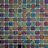 30x30cm Irisierende Perlmutt Texturiert Glas Mosaik Fliesen Matte in Schimmerndes Dunkel Lila (MT0159)