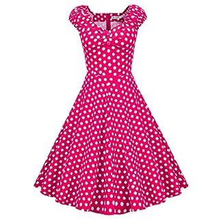 MUXXN Women's Classic Frill Sleeve Shift Slim Tea Length Dress (Rose WBDot 2XL)