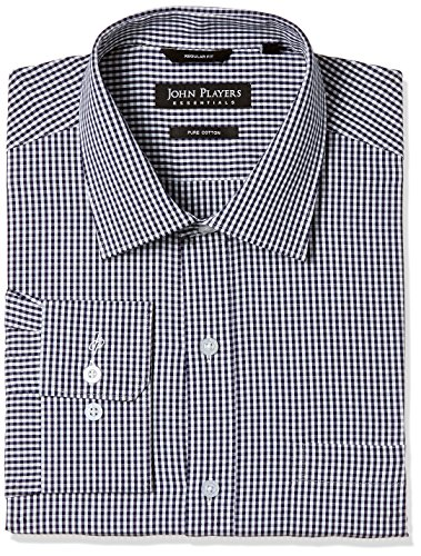 John Players Men's Formal Shirt (8902986532136_JFMWSHCOR0463_40_Navy Check)